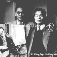 Phạm Duy và chân dung do Võ Lang vẽ tại Paris, 1955